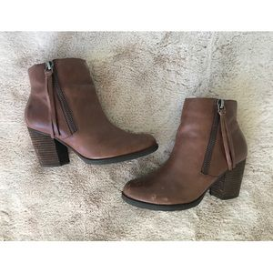 Marc Fisher | Brown Leather Tassel Zipper Booties